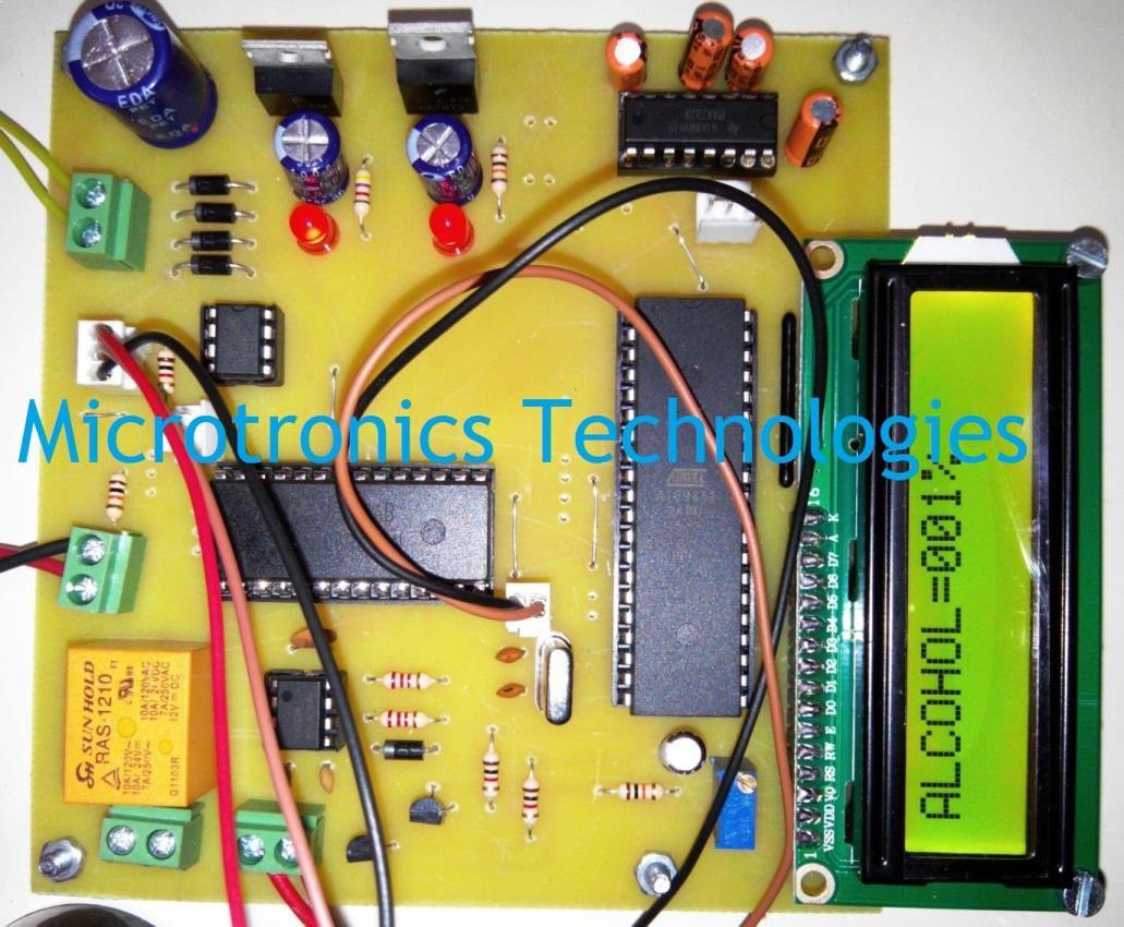 Alcohol Detection System With Vehicle Controlling Mobile Phone Detector Circuit For Car