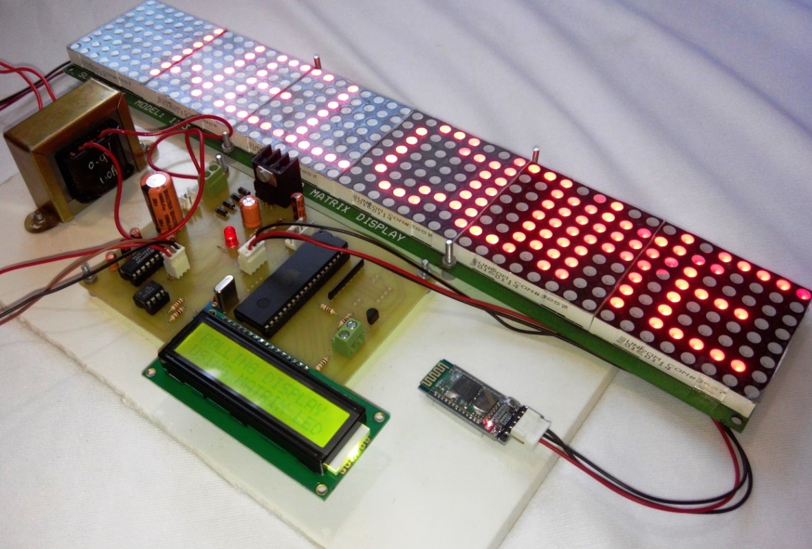 Electronic Project Board : Android controlled electronic notice board using matrix